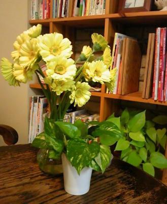 2010 4 21 1s お客さんからの頂き物は花とクッキー